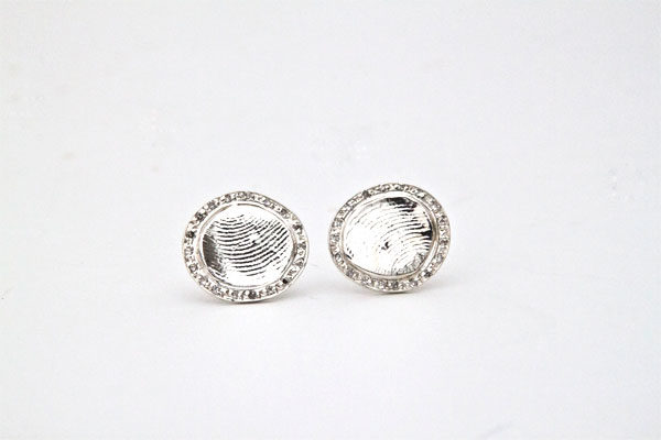 Diamond Bezel Fingerprint Earrings