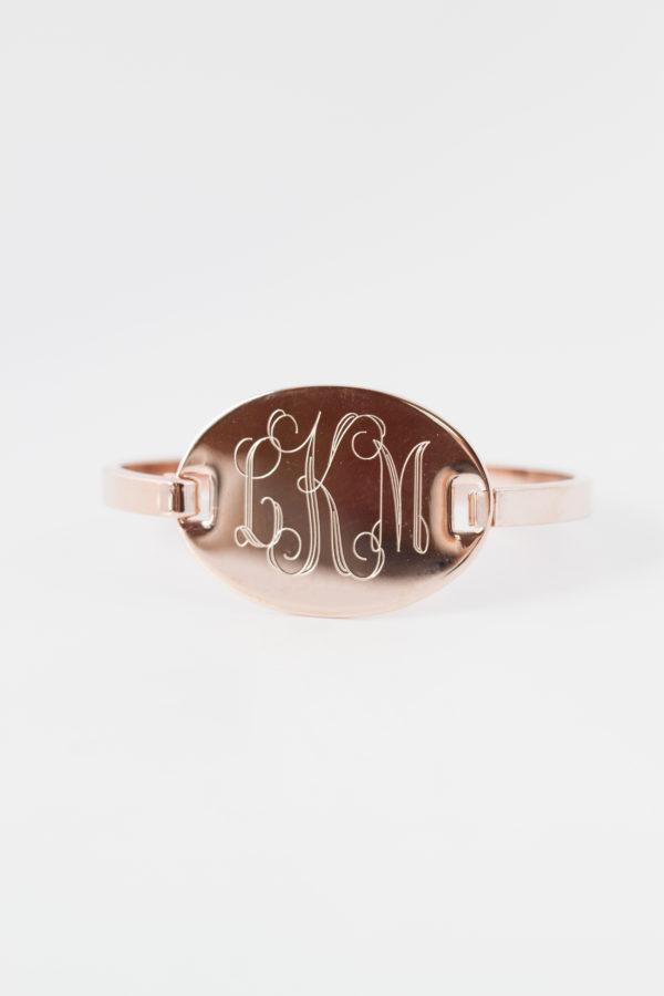 Oval Hinge Cuff Monogram Bracelet