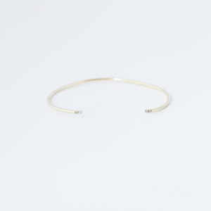 Thin Cuff with Diamond Ends - Yellow Gold